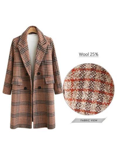 Women Plaid Cardigan Long Sleeve Long Lapel Overcoat
