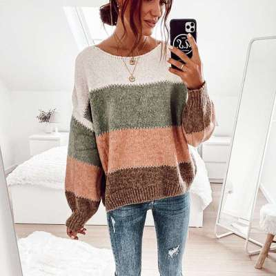 Casual Stripe Round neck Long sleeve Sweaters