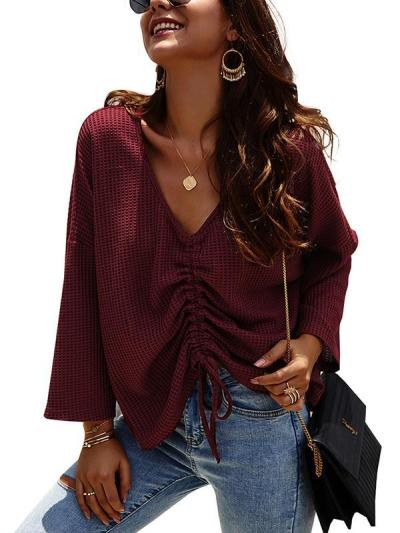Womeb long sleeve v neck top knit sweaters