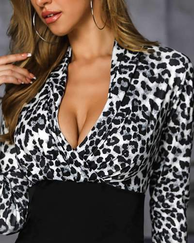 Sexy Leopard print Gored V neck Long sleeve Bodycon Dresses