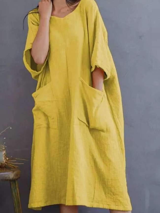 Casual Loose Pure V neck Half sleeve Pocket Maxi Dresses