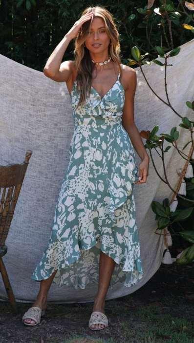 Fashion Print V neck Falbala Skater Dresses