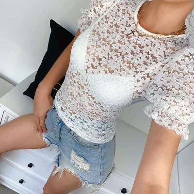 Sexy Pure Lace Round neck Short sleeve T-Shirts