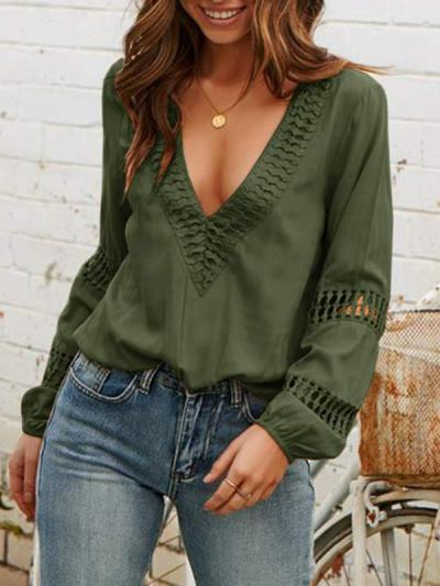 Lace deep V collar long sleeve casual Blouses