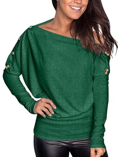 Women boat neck button decoration long sleeve T-shirts