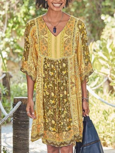 Floral Printed bohomia v-neck loose shift dresses
