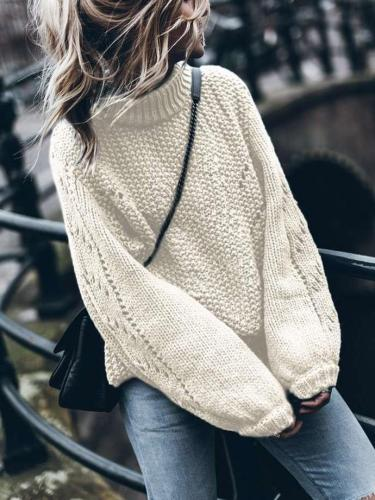 Casual Pure Round neck Puff sleeve Knit Sweaters