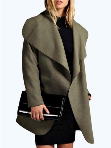 Long Sleeve Lapel Solid Casual Coat