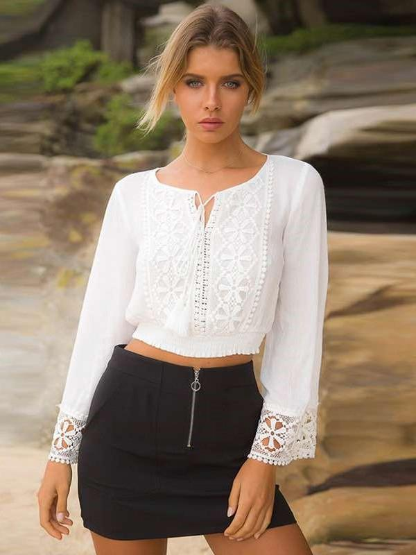 Sexy Lace Long sleeve Lacing Round neck Blouses