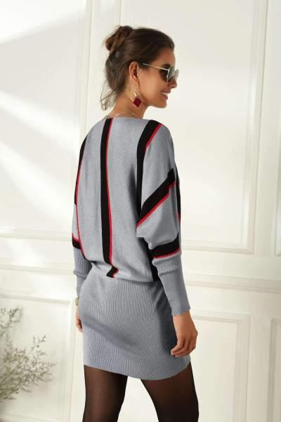 Fashion Loose Plus Stripe Long sleeve Bodycon Dresses