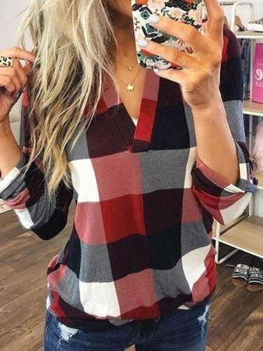 Casual grid women v neck long sleeve blouses