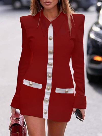 Slim turn down neck women fashion shift dresses