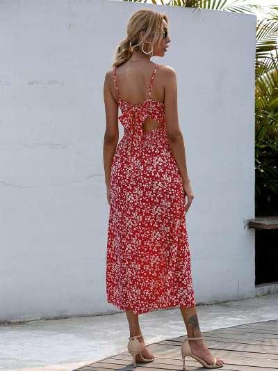 Fashion Print V neck Vest Skater Maxi Dresses