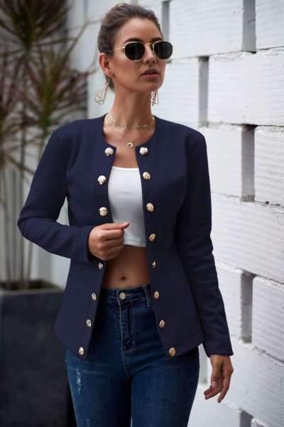 Fashion Pure Long sleeve  Fastener Blazer