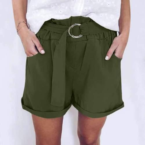 Fashion Casual Pure Belt Short Pants