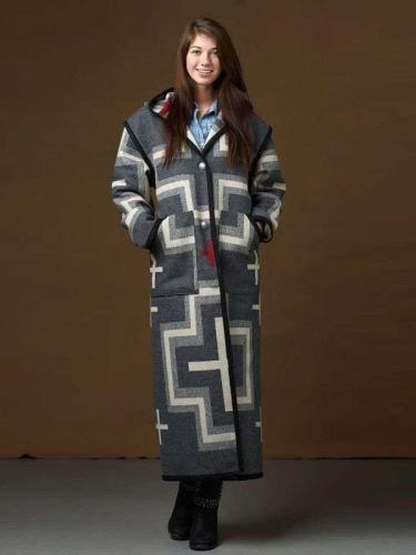 Fashion Casual Print Long sleeve Pocket Hoodie Coats