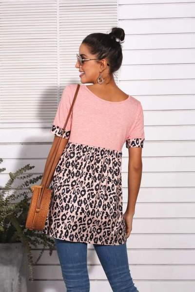 Fashion Gored Leopard print V neck Short sleeve T-Shirts