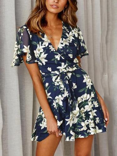 Fashion Floral Printed Short Sleeves Deep V Printed Skater Dresses