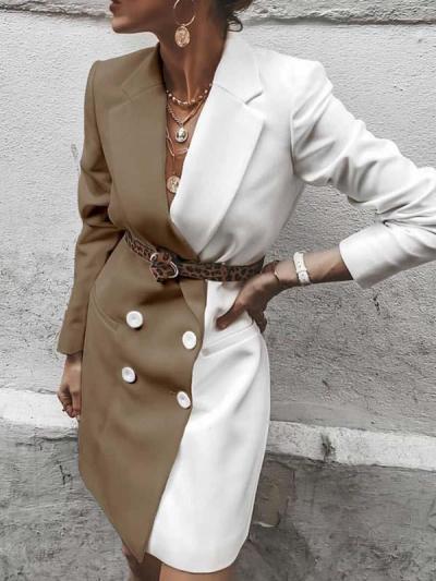 Fashionable color contrast suit coat dresses jackets