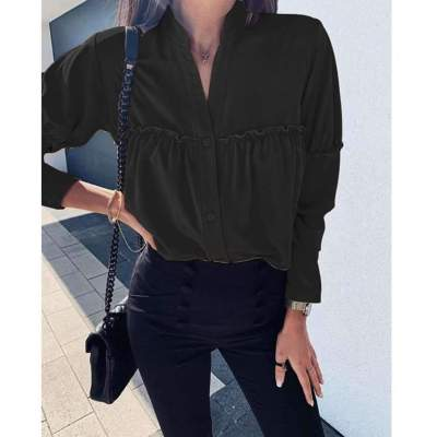 Loose Long sleeve Pure Stand collar Gored Blouses