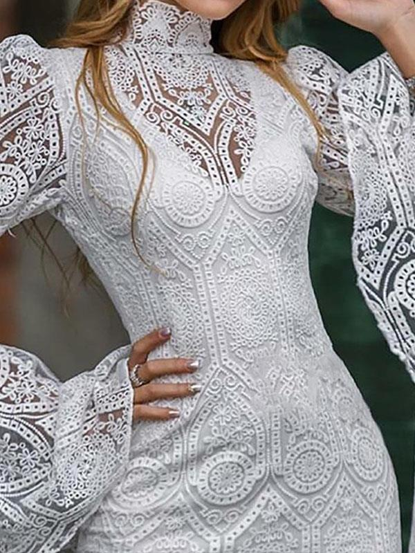 Women white lace high neck long sleeve bodycon dresses