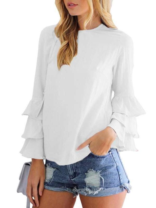 Fashion Pure Round neck  Falbala Long sleeve T-Shirts