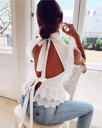 Sexy Stand collar Lace Hollow out Backless Sleeveless Falbala Blouses