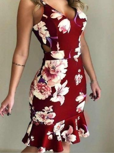 Sexy Print V neck Tee Sleeveless Bodycon Dresses