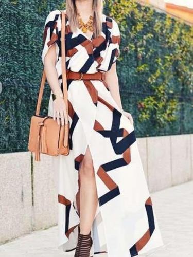 Fashion Digital printing Vent Maxi Dresses