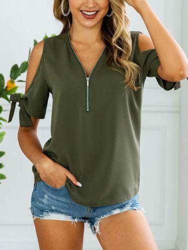 Summer chic casual zip-up women off shoulder blouse