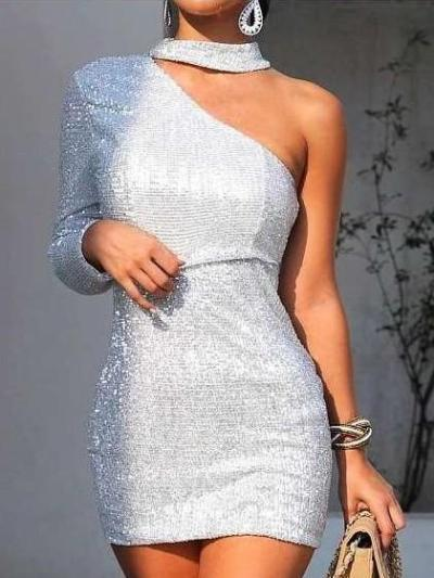 Fashion Off shoulder Halter Silver Evening Dresses