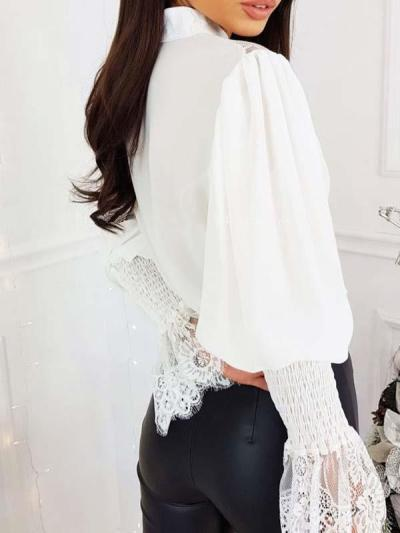 Elegant lace stitching band neck long sleeve blouses