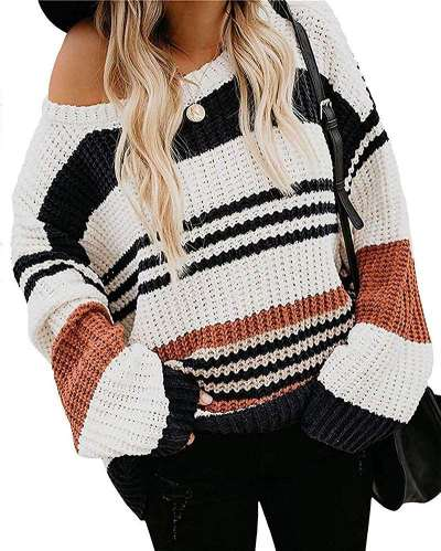 Fashion Casual Loose Round neck Long sleeve Sweaters