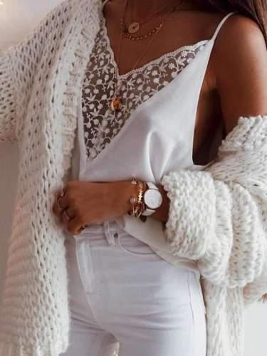 Loose Casual V neck Lace Design Chic Vests