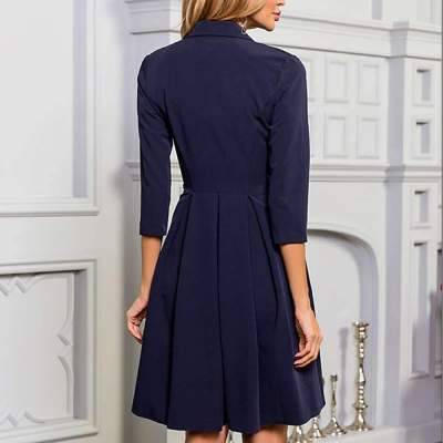 Fashion Pure Lapel Three quarter sleeve Skater Dresses