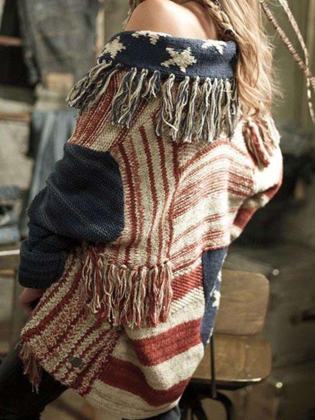 Fashion Purl Gored Knit Long sleeve Cardigan