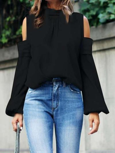 Sexy Off shoulder Long sleeve High collar Blouses