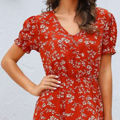 Fashion Print Falbala V neck Short sleeve Skater Dresses