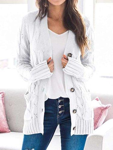 Fashion Pure Knit V neck Long sleeve Cardigan