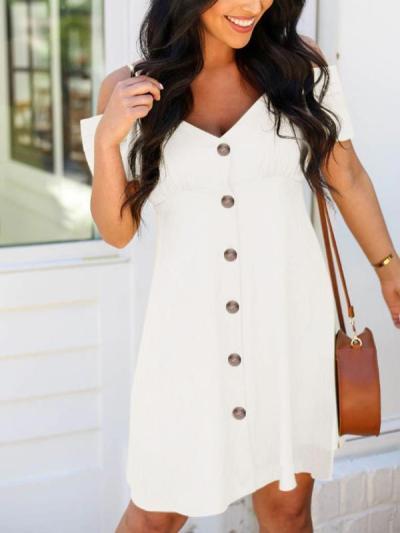 Women Off Shoulder Button Short Sleeve Shift Dresses