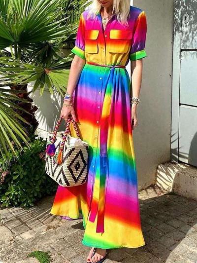 Fashion Rainbow stripe Short sleeve Lapel Maxi Dresses