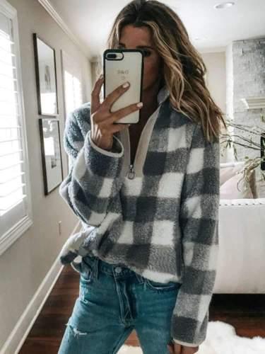 Fashion Plaid Long sleeve High collar Zipper Sweatshirts