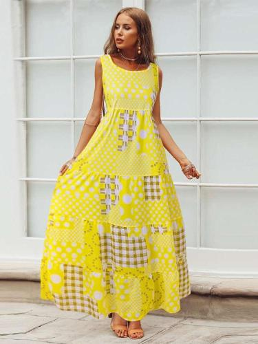 Casual Loose Print Round neck Sleeveless Maxi Dresses