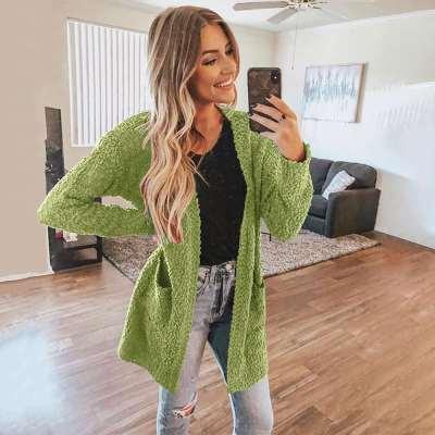 Fashion Long sleeve Pocket Sweater Coats