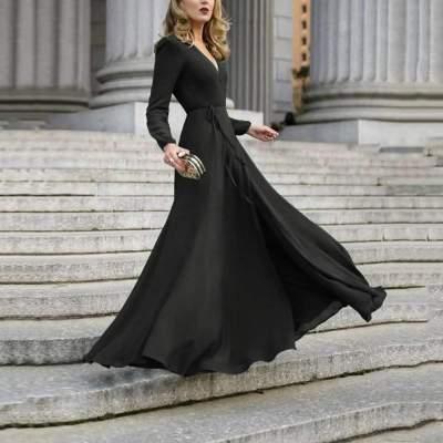 Pure V neck Long sleeve Lacing Skater Maxi Dresses