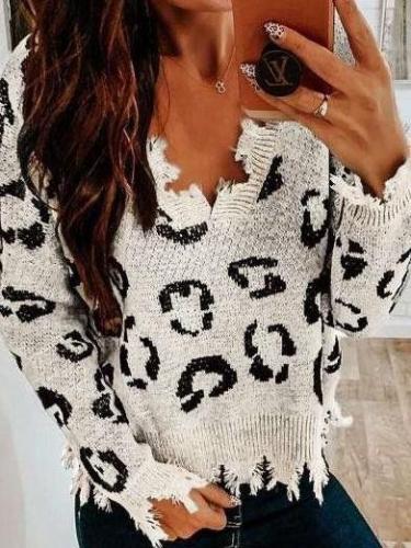 Fashion Loose Print Long sleeve V neck Knit Sweaters