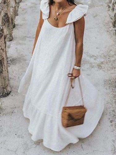 Casual Loose Pure Round neck Falbala Maxi Dresses