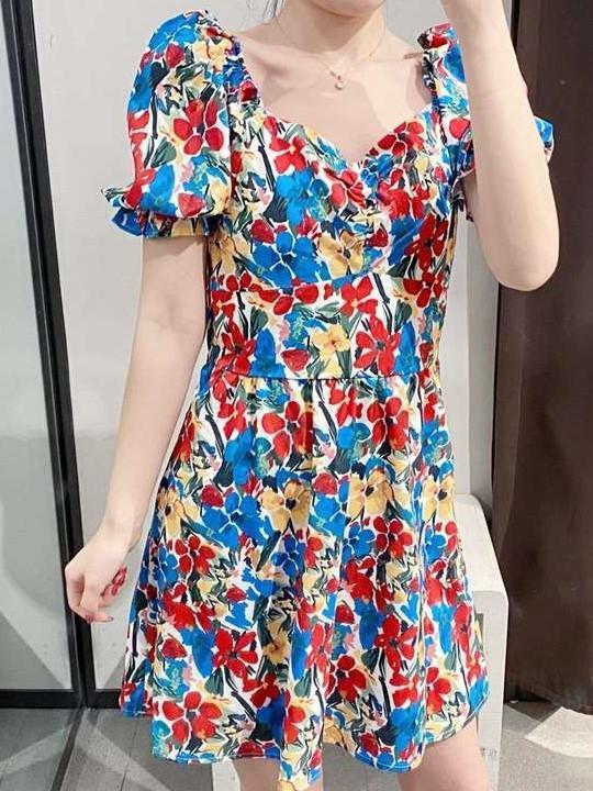 Fashion Print Short sleeve V neck Shift Dresses