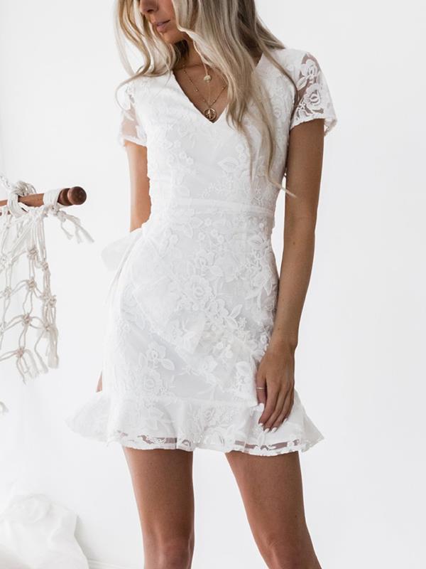 Women chic white lace v neck mini bodycon dresses
