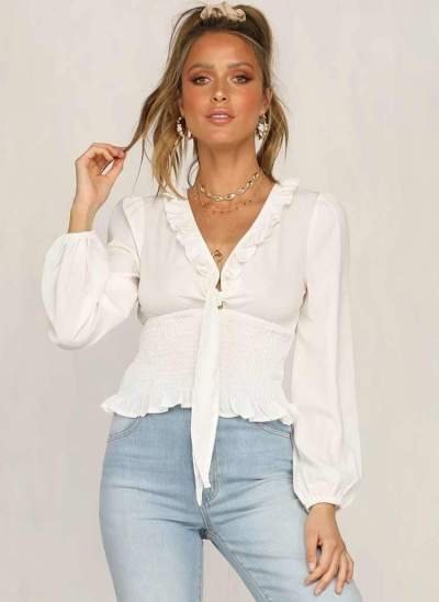 Pure Lacing  Stringy selvedge Long sleeve Blouses